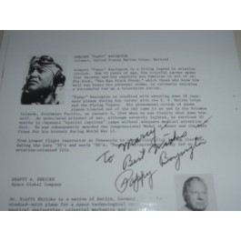 Pappy Boyington Autograph
